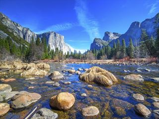 El Capitan, Half Dome and Merced River, Yosemite