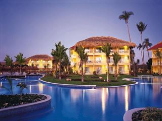 Exterior view of Dreams Punta Cana at night - Dominican Republic Holidays