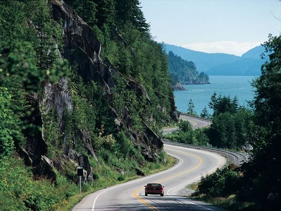 A car driving the Sea to Sky Highway between Vancouver and Whistler
