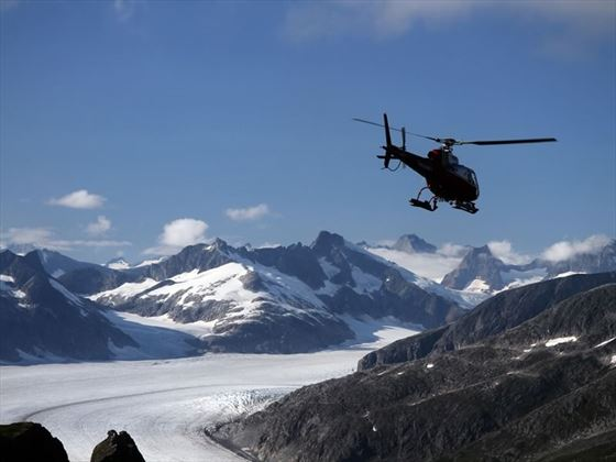 Helicopter in Alaska Mountains