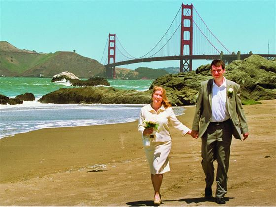 Bride & Groom on Baker Beach