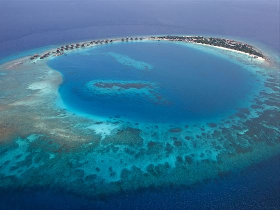 Aerial view of the island at Viceroy Maldives