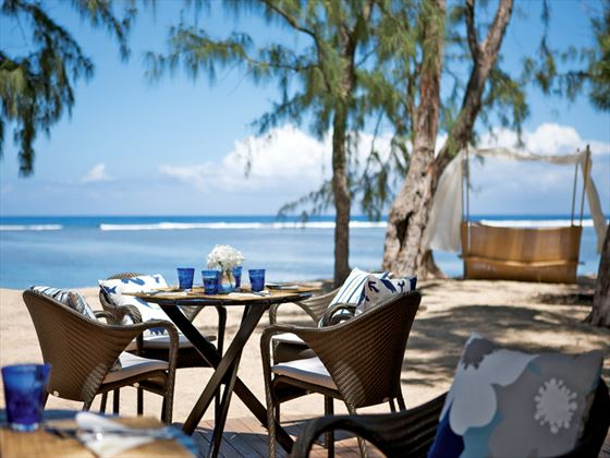 Beachfront dining at LUX* St Gilles