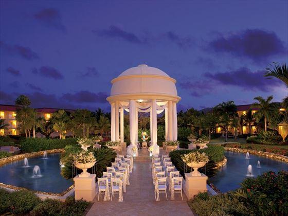 A nighttime shot of the wedding gazebo at Dreams Punta Cana