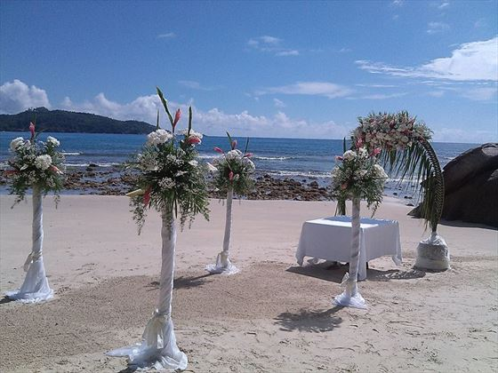 Beach wedding setting