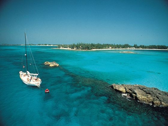 Sailing boats in the Bahamas
