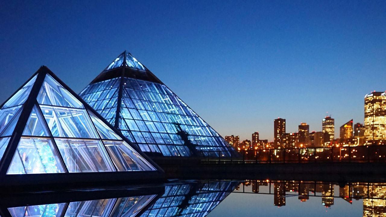 View of Muttart Conservatory pyramids, Edmonton