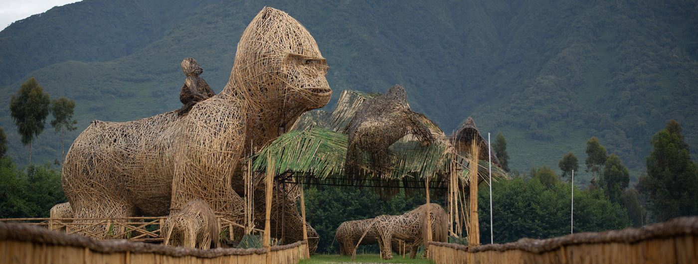 Gorilla sculptures near Singita Kwitonda Lodge