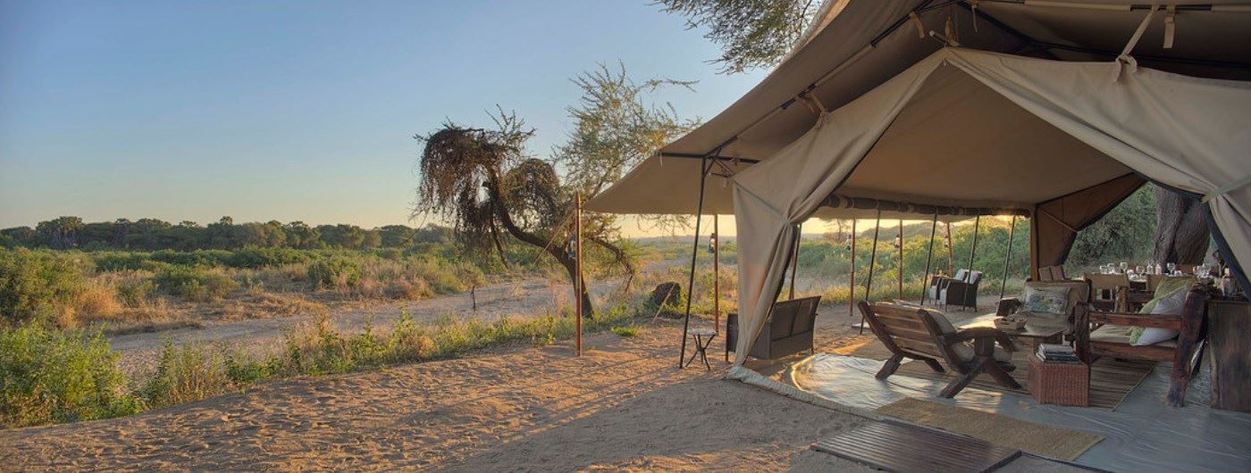 Kichaka Safari Camp mess tent and views