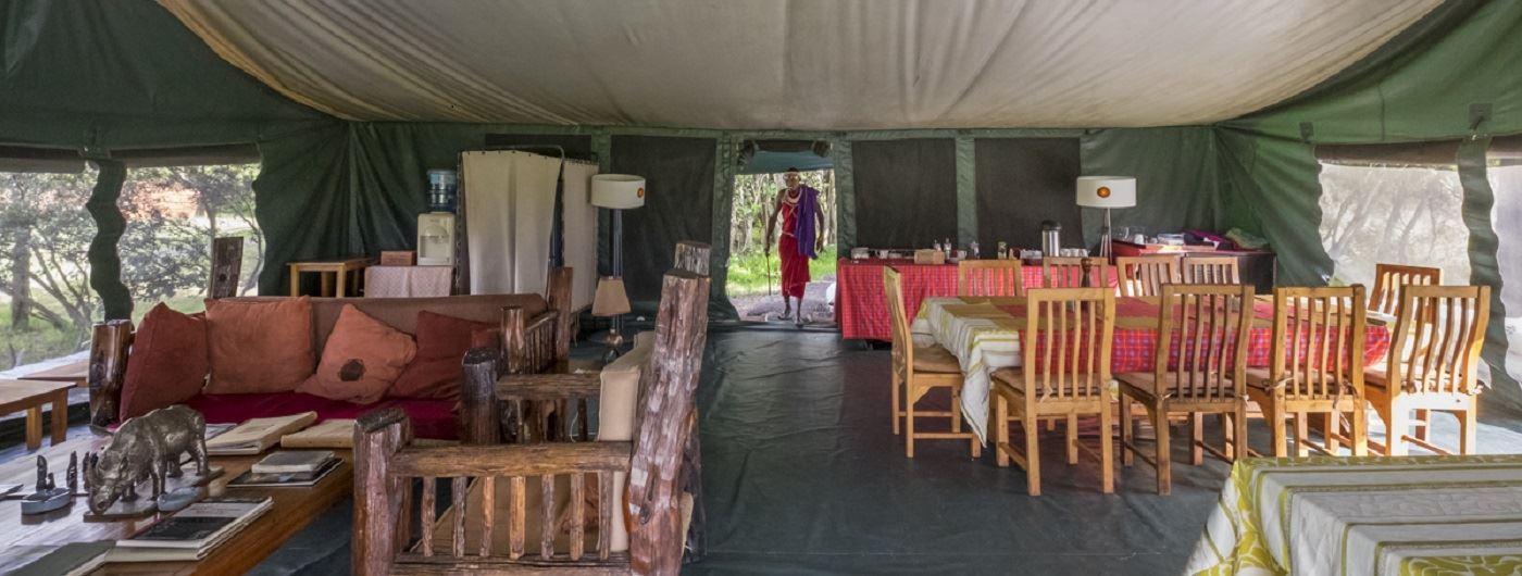 Porini Rhino Camp mess tent interior