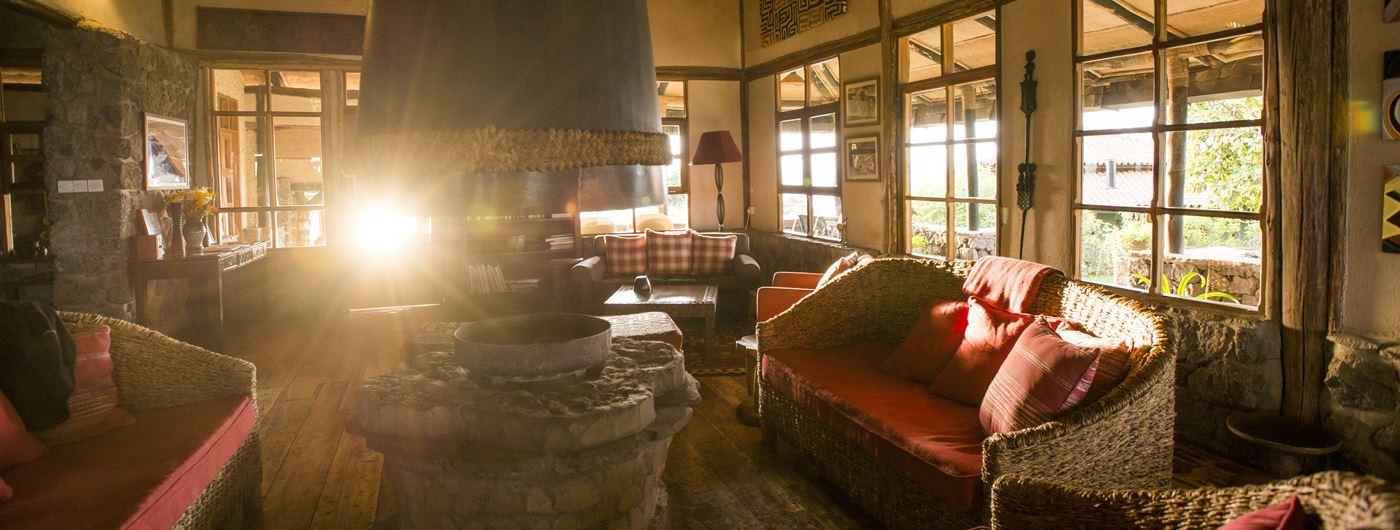 Virunga Lodge main lounge