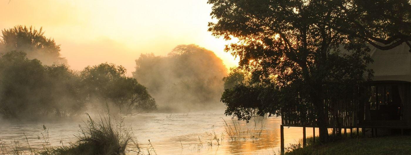 Sunrise and mist on the Zambezi River