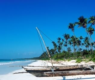 Wooden dhow on Zanzibar beach