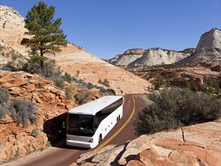 Bus driving through Zion National Park