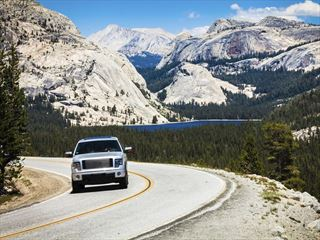 Car driving in Yosemite National Park