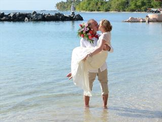 The happy couple at Coco Reef, Tobago