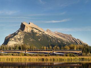 Rocky Mountaineer passing Vermillion Lakes near Banff