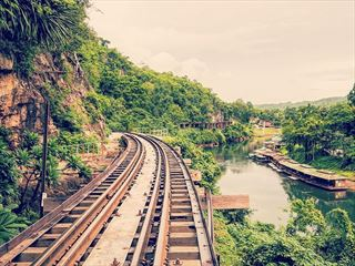 Wooden rail bridge in Kanchanaburi