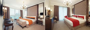 The Deluxe Room (Left) and Deluxe Penthouse Suite (Right) at Dukes Dubai