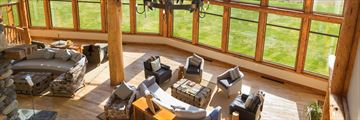 The main lounge at Fiordland Lodge