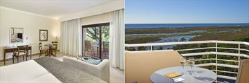 Golf Side Premium Garden View Room and Lagoon Side Premium Sea View terrace at Hotel Quinta Do Lago