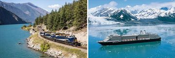 Rocky Mountaineer and Holland America cruise ship in Glacier Bay (2020 sailings will be on MS Koningsdam)
