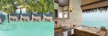 Aerial of Lagoon Villas and Deluxe Lagoon Villa bathroom at Taj Exotica Resort & Spa