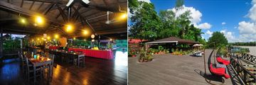 Dining deck and viewing deck at Abai Jungle Lodge