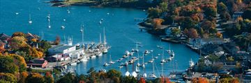 An aerial view of Camden Harbour, Maine