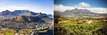 Aerial view of Cape Town and Stellenbosch Vineyards