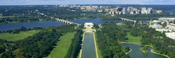 An aerial view of Washington DC