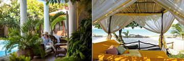 Terrace and Swahili Bed on the Beach at AfroChic Diani Beach Hotel