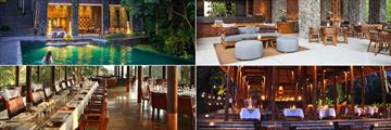 Alila Ubud, (clockwise from top left): Cabana Lounge Pool, Cabana Lounge, Plantation Restaurant at Night and Plantation Restaurant Dining Room