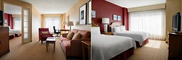 Double-Double Suite Living Area and Bedroom at Anaheim Marriott Suites