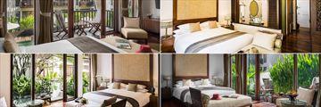 Clockwise from top left: Suite, Premier Suite, Terrace Suite, Premier Terrace Suite at Anantara Angkor Resort