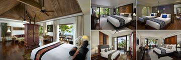 Anantara Hua Hin Resort, (clockwise from left): Anantara Sea View Suite, Premium Garden View Room, Deluxe Garden View Interconnecting Room, Premium Sea View Room and Junior Lagoon View Suite