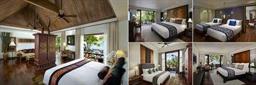 Anantara Hua Hin Resort, (clockwise from left): Anantara Sea View Suite, Premium Garden View Room, Deluxe Garden View Interconnecting Room, Premium Sea View Room and Junior Lagoon View Suite