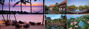 Anantara Hua Hin Resort, (clockwise from top left): Beach Sunset, Lagoon, Lagoon Pool, Aerial View of Resort, Lagoon Pool and Sai Thong Beachfront Dining