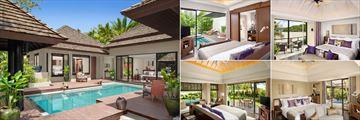 Anantara Layan Phuket Resort, (clockwise from left): Two Bedroom Pool Villa, Deluxe Pool Villa, Premier Room, Sala Pool Villa and Beachfront Layan Pool Villa