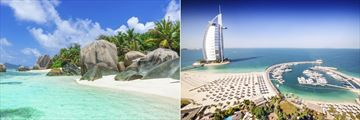 Anse Source D'Argent beach in the Seychelles and Burj Al Arab Hotel & Marina, Dubai
