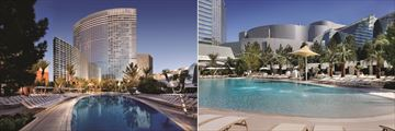 Hotel Pool and Exterior at Night and Pool by Day at Aria Resort & Casino