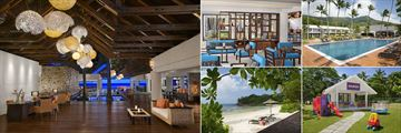 AVANI Seychelles Barbarons Resort & Spa, (clockwise from left): Lobby, Library, Pool, Kids' Club and Beach