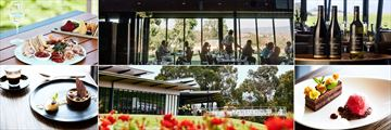 Balgownie Estate Vineyard Resort & Spa, (clockwise from top left): Rae's Restaurant - Food, Interior, Wine, Dessert, Exterior and Dessert