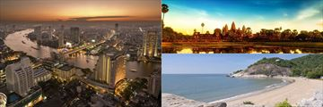 Bangkok Aerial View, Angkor Wat and a beach in Hua Hin