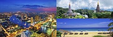 Aerial view of Bangkok, The Pagodas Doi Intanon Mountains & Karon Beach, Phuket