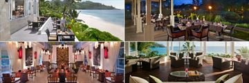 Clockwise From Left: Au Jardin D'Espices, Saffron, Le Varange Bar and Chez Lamar at Banyan Tree, Seychelles