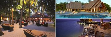 Sails Bar (left), Lime Restaurant (top right), and The Lighthouse Restaurant (bottom right), at Baros Maldives
