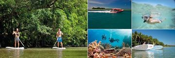 Bay Villas Resort, Port Douglas, (clockwise from left): Paddleboarding, Tours, Scuba, Surfing and Reef Diving Activities