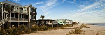 Beach houses along Charleston beach, South Carolina