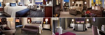 Bellagio, (clockwise from top left): King Room Indigo, Salone Suite, Two Bedroom Grand Lake View Suite and Tower Two Bedroom Suite